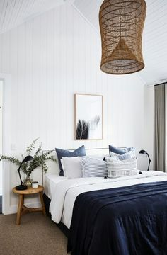 Best Modern Blue Bedroom for Your Home - bedroom design inspiration - bedroom design styles - bedroom furniture ideas - A modern theme for your bedroom can be just achieved with strong blue wallpaper in an abstract design as well as patterned bedlinen. White Wall Bedroom, Navy Bedroom Decor, Bedroom Furniture, Bedrooms With White Walls, White Wood Walls, Blue Orange Bedrooms, Navy Curtains Bedroom, Brown Carpet Bedroom, Vaulted Ceiling Bedroom