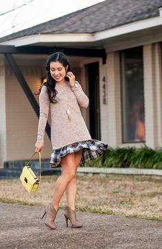 cute & little blog | petite fashion | plaid flounce dress, taupe ankle boots, yellow rider crossbody, side pull-through braid, kendra scott rayne pendant neckace | outfit