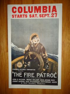 Original 1924 The Fire Patrol Window Card Movie Poster Madge Bellamy on a Sailing Ship Vintage
