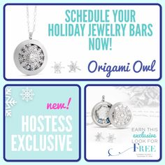 Origami Owl. Holiday hostess exclusive gift! Host a complimentary jewelry bar Oct1-Dec 31, 2016 to earn this look for FREE! www.CharmingLocketsByAline.OrigamiOwl.com