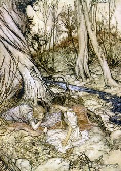 """... where often you and I / Upon faint primrose-beds were wont to lie... """"A Midsummer-Night's Dream"""" (1908) illustrated by Arthur Rackham (Act I, Scene I)."""