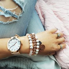 Cassie Louise white luxe feat. rose gold bracelets spotted on Instagram