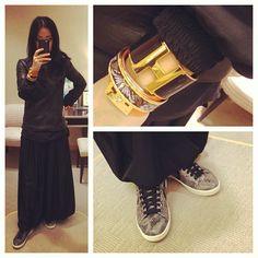 Surprise..more black. #theory leather top #zara blouse #hermes #kellydog #enamel #bangle #cuffs #americanapparel skirt #converse #hightops #yearofthesnake #sneakers #kicks #style #fashion #msneakerpimp #blogger #wearingnow #whatiwore #ootd #picoftheday #photooftheday