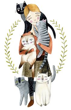 Girls with cats by RadioOd on Etsy https://www.etsy.com/listing/219551569/girls-with-cats