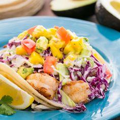 Shrimp Tacos with Coconut Coleslaw & Mango Salsa