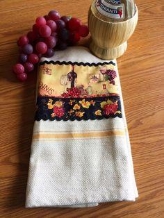Wine Towel  Wine Print Embellished Towel  Tea by LindasOtherLife, $20.00