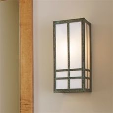 Brass Light Gallery - www.newclassicsbrasslight.com -Prairie Style Studio Lantern without a roof, Shown Aged Verdigris Patina finish with White Opal glass