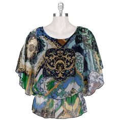 West Kei Printed Butterfly Sleeve Top #VonMaur