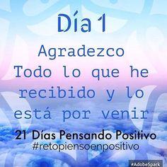 Dicen que uno se demora 21 días en adaptarse, crear hábitos y acostumbrarse.  Me considero una persona muy positiva, persigo mis metas y sueños.. Es prte de mi...  Encontré esto por ahí.. asiq probaremos estos 21 dias PENSANDO POSITIVO ☘☀️ #retopiensopositivo #Día1 @cony_peque ❤️