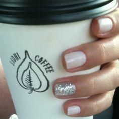 Essie Marshmallow and glitter polish