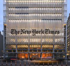 Renzo Piano Building Workshop & FX Fowle Architects' New York Times Building, New York City Renzo Piano, New York Times, Ny Times, New York Architecture, Architecture Design, Architecture Diagrams, Architecture Portfolio, Classical Architecture, Money In Politics