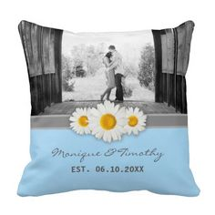 Daisy Ribbon - Blue Gray & White Wedding Throw Pillow  This sweet daisy and ribbon design features a gray ribbon, and three sweet daisies. Fresh, stylish, and bright, in this blue, gray, and white theme.