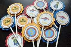Superhero Cupcake Toppers Set of 12 by IzzynJBoutique on Etsy, $10.00