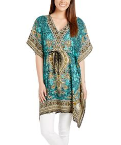 Loving this Turquoise & Beige Geometric V-Neck Tunic on #zulily! #zulilyfinds