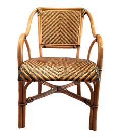 Set of 6 Safari Rattan Bent Wood Dining Arm Chairs