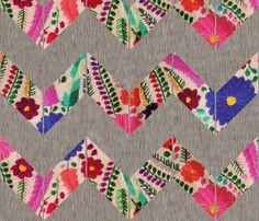 Boho Chevron  (Flower Power in Smoke) fabric by nouveau_bohemian on Spoonflower - custom fabric