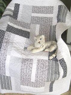 Baby Crib Quilt - Grey / Silver / White Modern/Contemporary Design - Gender Neutral