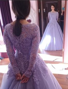 2015 Purple Ball Gown Wedding Dresses With Scoop Neckline Long Sleeves Applique Lace Tulle Plus Size Colorful Lilac Vintage Bridal Gowns from Honeywedding,$159.17 | DHgate.com