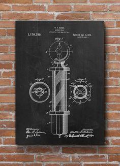 Barber Pole Patent Print Vintage Barber's Pole Hipster by dalumna