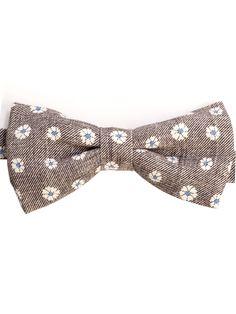 Gabbiano-Cotton Linen Floral Pretied Bow