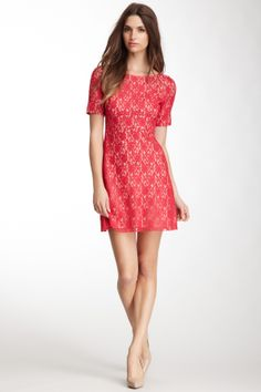 A.B.S. Short Sleeve Boatneck Lace Dress (also in Black)