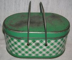 Vintage Green Metal Gingham Plaid Check Oval Lunch Tin Pail