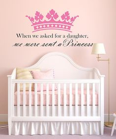 Take a look at this DecorDesigns Pink & Black 'Princess' Wall Decal by Once Upon a Time: Fanciful Furnishings on today!my palace will finally have its princess, baby Princess Nursery, Girl Nursery, Princess Room, Themed Nursery, Nursery Ideas, Future Daughter, Future Baby, Daughters Room, My Baby Girl