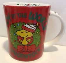 Snoopy Christmas Mugs Woodstock Peanuts Joy To The World Wreath Coffee Cup