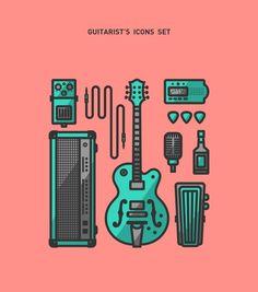 Guitarist's icons set by Fabrizio Morra, via Behance