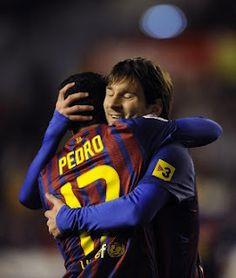 Pedro - Messi celebrate goal