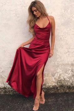 Open Back Prom Dress Burgundy Evening Dress Long Prom Dress Custom Evening Dress Simple Prom Dress Prom Dresses Long Grad Dresses Long, Straps Prom Dresses, Prom Dresses Online, Cheap Prom Dresses, Prom Party Dresses, Satin Dresses, Red Silk Prom Dress, Dresses Dresses, Burgundy Satin Dress