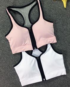 Women's front Zipper Racerback Yoga Running Sports Workout Bra