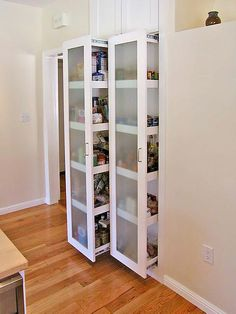 Below are some beautiful kitchen pantry design ideas. Great combination of design and function on your small kitchen. Pantry is a place of storage and decorative space. Sliding Pantry Doors, Kitchen Pantry Doors, Pantry Cabinets, Pantry Closet, Storage Cabinets, Space Kitchen, Maple Cabinets, Upper Cabinets, Closet Doors