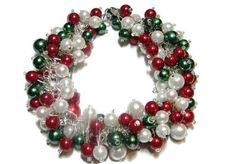 Red White and Green HolidayJewelry, Beaded Bracelet, Holiday Jewelry, Festive Cluster Pearls, Holiday Gift, Christmas Wedding, Bridesmaid