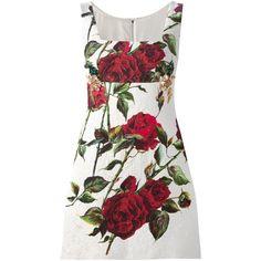 Dolce & Gabbana rose print brocade dress ($3,625) ❤ liked on Polyvore featuring dresses, white, short dresses, brocade dress, short spaghetti strap dress, square neck dress and rose print dress