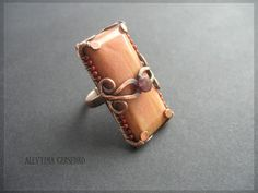 Rectangle wire wrapped ring... (copper, bronze color)