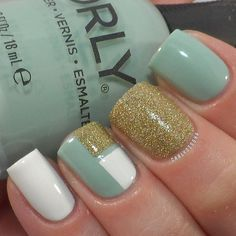 mint and gold nails | Found on web.stagram.com