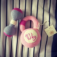 Personalized Pink/Mint green Crocheted Rattle Weights with initials -Crocheted…