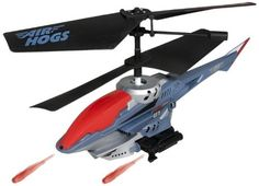 Air Hogs - Sharp Shooter - Grey / Red by Air Hogs. $44.63. Prepare for sky-high battles with the blue Air Hogs R/C Sharp Shooter Helicopter.^This awesome remote control chopper has built-in firing missile weapons to fire six missiles at your target at the touch of a button.^Fly Multiple Sharp Shooters in the Same Room with 2 Frequencies^With Steady Flight and Tail-Lock Technology, this 6.5 inches long Sharp Shooter can be piloted left, right, up and down with precision and i...