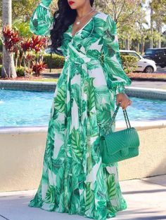 Tropical Print Deep V Belted Warp Maxi Dress Women's Best Online Shopping - Offering Huge Discounts on Dresses, Lingerie , Jumpsuits , Swimwear, Tops and More. African Fashion Dresses, African Dress, Dress Fashion, Fashion Sandals, Fashion Clothes, Maxi Dress With Sleeves, Chiffon Dress, V Neck Dress, Short Beach Dresses