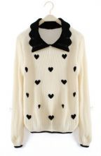 Beige Lapel Long Sleeve Heart Print Pullovers Sweater \