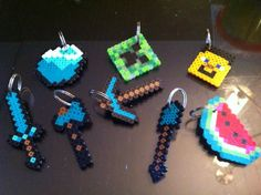 Minecraft keychains made with Perler Beads