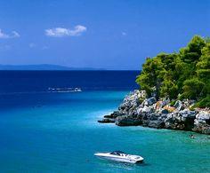 Skopelos, Greece.  Where Mama Mia was filmed