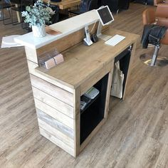 Contemporary Modern Reception Desk // Hardwood // Hostess Stand // Front Counter - Enengo Tutorial and Ideas