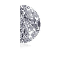 Half moon cut diamond. A very unique shape, usually used as accents on the side of a diamond or colored stone.