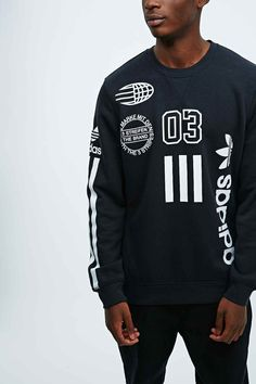Adidas Originals Logos Long Sleeve Tee in Black - Urban Outfitters