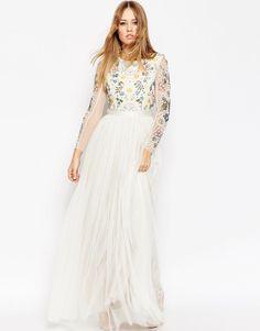 Image 1 ofNeedle & Thread Backless Sheer Sleeve Tulle Embellished Maxi Dress