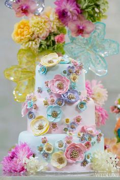 Beautiful Cake Pictures: Beautiful Pastel Flowers with Gold Pearls Wedding Cake - Cakes with Pearls, Colorful Cakes, Flower Cake, Wedding Cakes -