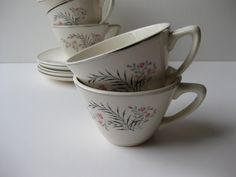 Vintage Pink Gray Black Floral Teacups & Saucers by thechinagirl