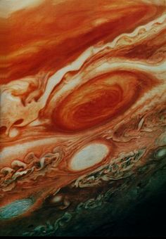 Jupiter's Great Red Spot. The Great Red Spot is a great anti-cyclonic (high pressure) storm akin to a hurricane on Earth, but it is enormous (three Earths would fit within its boundaries) and it has persisted for at least the 400 years that humans have observed it through telescopes. Since it is anti-cyclonic in Jupiter's Southern hemisphere, the rotation is counterclockwise, with a period of about 6 days. (A hurricane in Earth's Southern hemisphere rotates clockwise.)